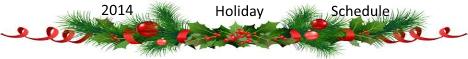 Winter Holiday Schedule